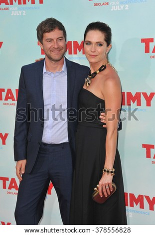 """LOS ANGELES, CA - JUNE 30, 2014: Mark Duplass & wife Katie Aselton at the premiere of his movie """"Tammy"""" at the TCL Chinese Theatre, Hollywood. - stock photo"""