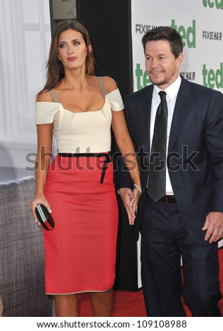 "LOS ANGELES, CA - JUNE 22, 2012: Mark Wahlberg & wife Rhea Durham at the world premiere of his movie ""Ted"" at Grauman's Chinese Theatre, Hollywood."