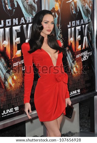 "LOS ANGELES, CA - JUNE 17, 2010: Megan Fox at the Los Angeles premiere of her new movie ""Jonah Hex"" at the Cinerama Dome, Hollywood. - stock photo"