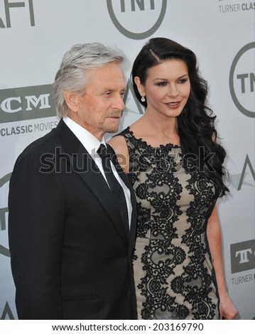 LOS ANGELES, CA - JUNE 5, 2014: Michael Douglas & Catherine Zeta-Jones at the 2014 American Film Institute's Life Achievement Awards honoring Jane Fonda, at the Dolby Theatre, Hollywood.  - stock photo