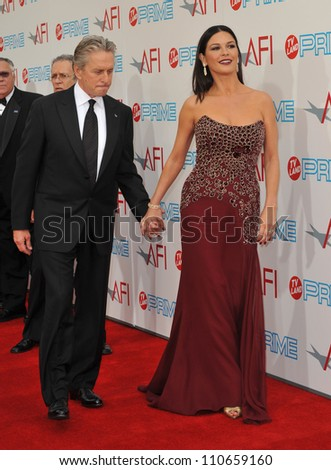 LOS ANGELES, CA - JUNE 11, 2009: Michael Douglas & wife Catherine Zeta-Jones at the 37th AFI Life Achievement Award Gala at Sony Studios, Los Angeles