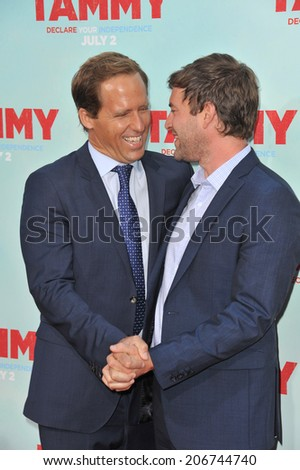 "LOS ANGELES, CA - JUNE 30, 2014: Nat Faxon & Mark Duplass (right) at the premiere of their movie ""Tammy"" at the TCL Chinese Theatre, Hollywood.  - stock photo"