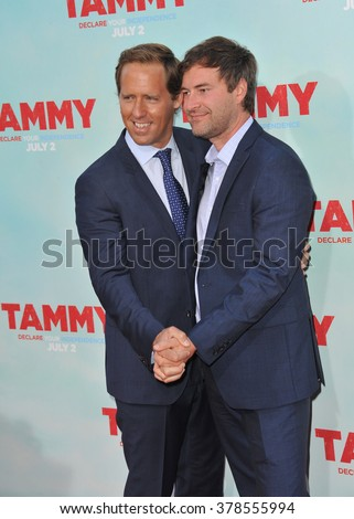 """LOS ANGELES, CA - JUNE 30, 2014: Nat Faxon & Mark Duplass (right) at the premiere of their movie """"Tammy"""" at the TCL Chinese Theatre, Hollywood. - stock photo"""
