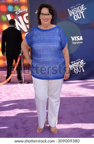 "LOS ANGELES, CA - JUNE 9, 2015: Phyllis Smith at the Los Angeles premiere of her movie Disney-Pixar's ""Inside Out"" at the El Capitan Theatre, Hollywood.  - stock photo"