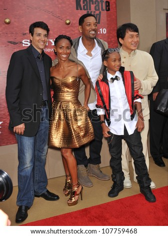 """LOS ANGELES, CA - JUNE 6, 2010: Ralph Macchio, Jada Pinkett Smith, Will Smith,  Jaden Smith & Jackie Chan at the premiere of their new movie """"The Karate Kid"""" at Mann Village Theatre, Westwood. - stock photo"""