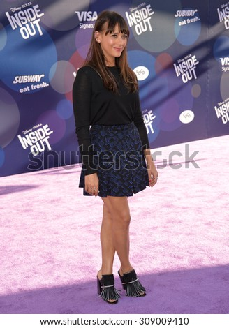 "LOS ANGELES, CA - JUNE 9, 2015: Rashida Jones at the Los Angeles premiere of Disney-Pixar's ""Inside Out"" at the El Capitan Theatre, Hollywood.  - stock photo"