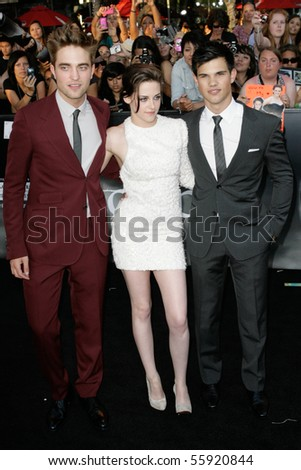 LOS ANGELES, CA. - JUNE 24: Robert Pattinson (L) Kristen Stewart (M) & Taylor Lautner (R) attend The Twilight Saga Eclipse  Los Angeles premiere on June 24th, 2010 at The Nokia Theater in Los Angeles. - stock photo