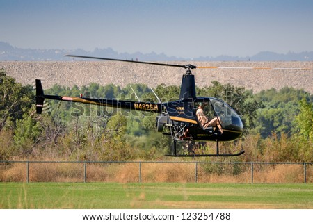 LOS ANGELES, CA. - JUNE 30:Robinson R22 Beta II  - American Heroes Air Show on June 30, 2012 in Los Angeles CA at the Hansen Dam Sports Complex.