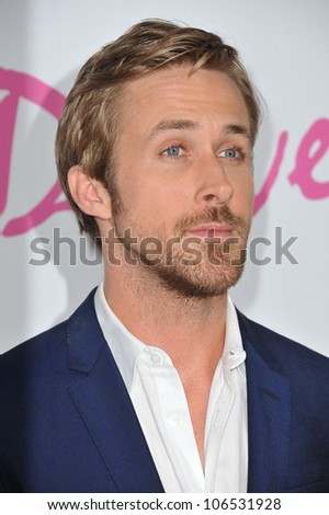 "LOS ANGELES, CA - JUNE 17, 2011: Ryan Gosling at the premiere of his new movie ""Drive"" at the Regal Cinemas, L.A. Live. June 17, 2011  Los Angeles, CA - stock photo"