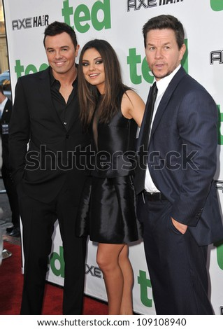 """LOS ANGELES, CA - JUNE 22, 2012: Seth McFarlane (left), Mila Kunis & Mark Wahlberg at the world premiere of their movie """"Ted"""" at Grauman's Chinese Theatre, Hollywood. - stock photo"""