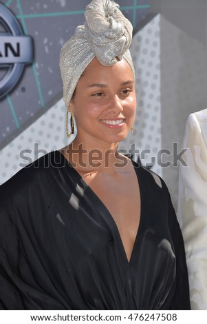 LOS ANGELES, CA. June 26, 2016: Singer Alicia Keys at the 2016 BET Awards at the Microsoft Theatre LA Live.