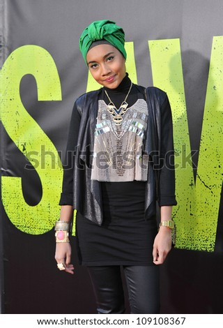 "LOS ANGELES, CA - JUNE 26, 2012: Singer Yuna at the world premiere of ""Savages"" at Mann Village Theatre, Westwood."