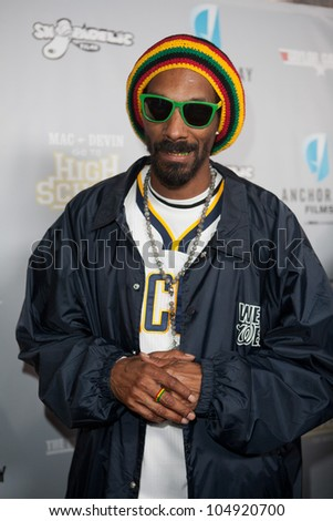 LOS ANGELES, CA - JUNE 11: Snoop Dogg (Calvin Cordozar Broadus, Jr.) arrives to the Max & Devin go to High School premiere at the Fonda Theatre on June 11, 2012 in Los Angeles, CA. - stock photo