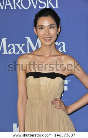 LOS ANGELES, CA - JUNE 12, 2013: Tao Okamoto at the Women in Film 2013 Crystal + Lucy Awards at the Beverly Hilton Hotel.