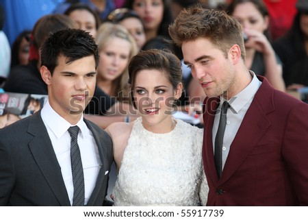 LOS ANGELES, CA. - JUNE 24: Taylor Lautner (L) Kristen Stewart (M) & Robert Pattinson (R) attend The Twilight Saga Eclipse  Los Angeles premiere on June 24th, 2010 at The Nokia Theater in Los Angeles. - stock photo