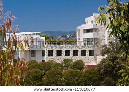 LOS ANGELES, CA - JUNE 16, 2012:  The Architecture of the Getty Center helps to attract 1.3 million visitors annually to the location in Los Angeles; June 16, 2012.