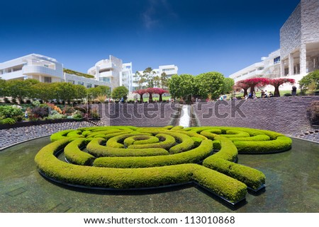 LOS ANGELES, CA - JUNE 16, 2012:  The gardens at The Getty Center are part of the draw to 1.3 million annual visitors to the Los Angeles, CA location; June 16, 2012. - stock photo