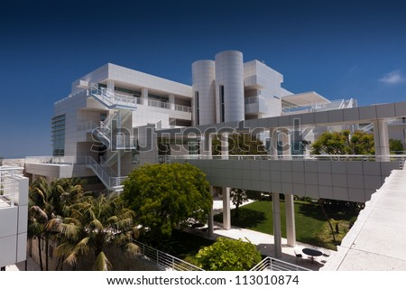 LOS ANGELES, CA - JUNE 16, 2012:  The Getty Center's architecture is part of the attraction to 1.3 million annual visitors in Los Angeles, CA; June 16,2012. - stock photo