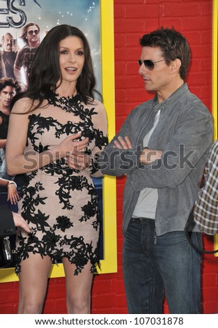 "LOS ANGELES, CA - JUNE 9, 2012: Tom Cruise & Catherine Zeta-Jones at the world premiere of their new movie ""Rock of Ages"" at Grauman's Chinese Theatre, Hollywood. June 9, 2012  Los Angeles, CA - stock photo"