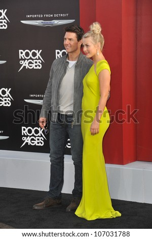 "LOS ANGELES, CA - JUNE 9, 2012: Tom Cruise & Julianne Hough at the world premiere of their new movie ""Rock of Ages"" at Grauman's Chinese Theatre, Hollywood. June 9, 2012  Los Angeles, CA - stock photo"