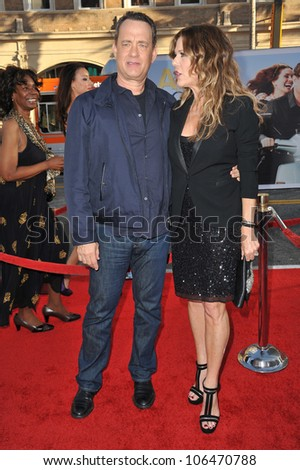 "LOS ANGELES, CA - JUNE 27, 2011: Tom Hanks & actress wife Rita Wilson at the world premiere of their new movie ""Larry Crowne"" at Grauman's Chinese Theatre, Hollywood. June 27, 2011  Los Angeles, CA"