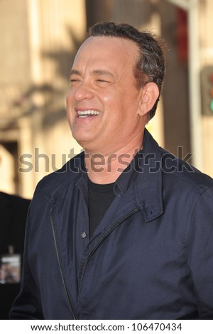 """LOS ANGELES, CA - JUNE 27, 2011: Tom Hanks at the world premiere of his new movie """"Larry Crowne"""" at Grauman's Chinese Theatre, Hollywood. June 27, 2011  Los Angeles, CA - stock photo"""