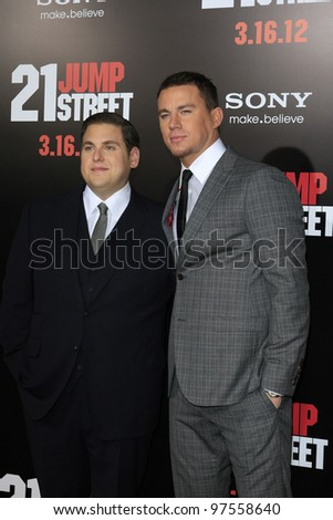 LOS ANGELES, CA - MAR 13: Jonah Hill, Channing Tatum at the premiere of Columbia Pictures '21 Jump Street' held at Grauman's Chinese Theater on March 13, 2012 in Los Angeles, California - stock photo