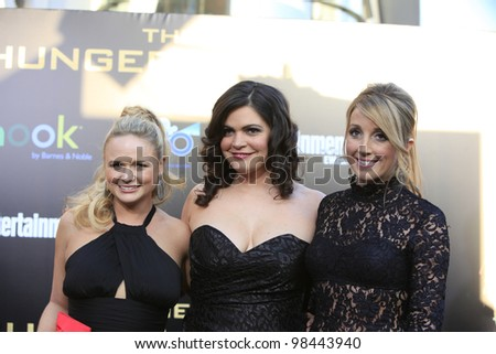 LOS ANGELES, CA - MAR 12: Miranda Lambert, Ashley Monroe, Angaleena Presley at the premiere of Lionsgate's 'The Hunger Games' at Nokia Theater L.A. Live on March 12, 2012 in Los Angeles, California - stock photo