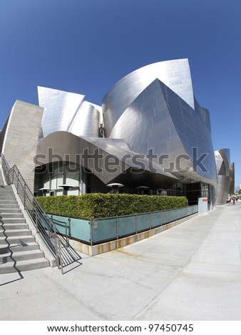 LOS ANGELES, CA - MARCH 2: A fisheye view of the Walt Disney Concert Hall in Los Angeles, California on March 2nd, 2012. It was designed by Frank Gehry and opened on October 24th, 2003. - stock photo
