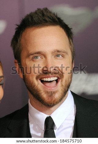 "LOS ANGELES, CA - MARCH 6, 2014: Aaron Paul at the U.S. premiere of his movie ""Need for Speed"" at the TCL Chinese Theatre, Hollywood."