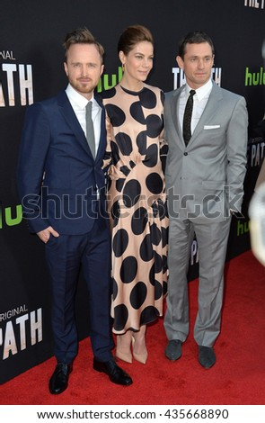 "LOS ANGELES, CA - MARCH 21, 2016: Aaron Paul, Michelle Monaghan & Hugh Dancy at the premiere for the Hulu original TV series ""The Path"" at the Arclight Theatre, Hollywood."