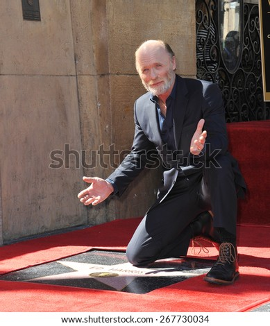 LOS ANGELES, CA - MARCH 13, 2015: Actor Ed Harris on Hollywood Boulevard where he was honored with the 2,546th star on the Hollywood Walk of Fame.  - stock photo