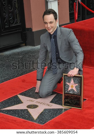 LOS ANGELES, CA - MARCH 11, 2015: Actor Jim Parsons is honored with the 2,545th star on the Hollywood Walk of Fame. - stock photo