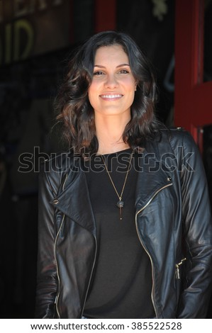 LOS ANGELES, CA - MARCH 5, 2015: Actress Daniela Ruah on Hollywood Boulevard where Chris O'Donnell was honored with the 2,544th star on the Walk of Fame. - stock photo