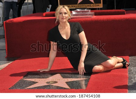 LOS ANGELES, CA - MARCH 17, 2014: Actress Kate Winslet is honored with the 2,520th star on the Hollywood Walk of Fame.  - stock photo