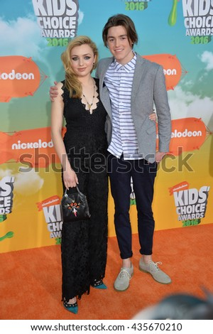 LOS ANGELES, CA - MARCH 12, 2016: Actress Peyton List & brother actor Spencer List at the 2016 Kids' Choice Awards at The Forum, Los Angeles.