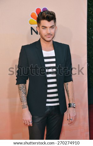 LOS ANGELES, CA - MARCH 29, 2015: Adam Lambert at the 2015 iHeart Radio Music Awards at the Shrine Auditorium.  - stock photo