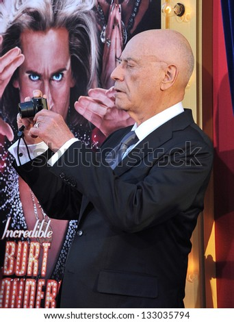 """LOS ANGELES, CA - MARCH 11, 2013: Alan Arkin at the world premiere of his movie """"The Incredible Burt Wonderstone"""" at the Chinese Theatre, Hollywood. - stock photo"""
