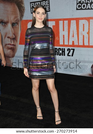 "LOS ANGELES, CA - MARCH 25, 2015: Alison Brie at the Los Angeles premiere of  her movie ""Get Hard"" at the TCL Chinese Theatre, Hollywood.  - stock photo"