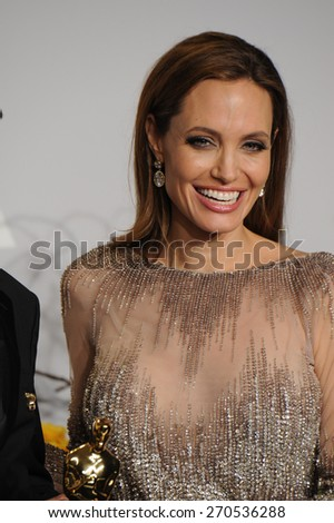 LOS ANGELES, CA - MARCH 2, 2014: Angelina Jolie at the 86th Annual Academy Awards at the Dolby Theatre, Hollywood.  - stock photo