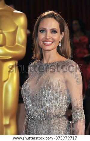 LOS ANGELES, CA - MARCH 2, 2014: Angelina Jolie at the 86th Annual Academy Awards at the Hollywood & Highland Theatre, Hollywood.
