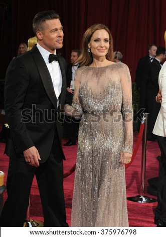 LOS ANGELES, CA - MARCH 2, 2014: Angelina Jolie & Brad Pitt at the 86th Annual Academy Awards at the Hollywood & Highland Theatre, Hollywood.