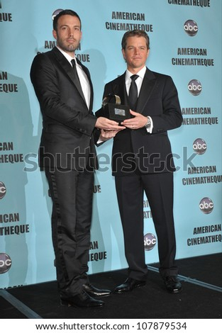 LOS ANGELES, CA - MARCH 27, 2010: Ben Affleck (left) & Matt Damon at the 24th Annual American Cinematheque Award Gala, where Damon was honored, at the Beverly Hilton Hotel. - stock photo