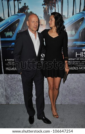 "LOS ANGELES, CA - MARCH 22, 2011: Bruce Willis & wife Emma Heming at the premiere of ""His Way"", about  Jerry Weintraub at Paramount Studios, Hollywood. March 22, 2011  Los Angeles, CA"