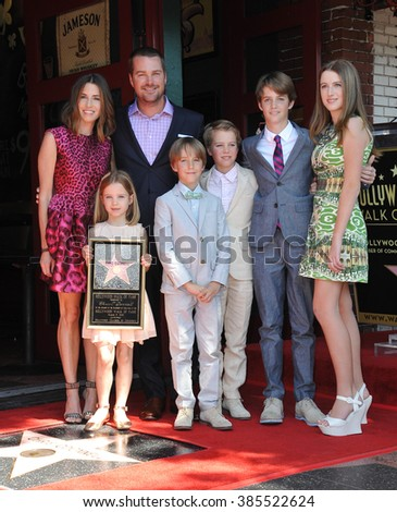 LOS ANGELES, CA - MARCH 5, 2015: Chris O'Donnell & wife Caroline Fentress & children Maeve, Finley, Charles, Christopher & Lily on Hollywood Blvd where he was honored with a star on the Walk of Fame. - stock photo