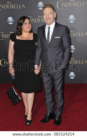 "LOS ANGELES, CA - MARCH 1, 2015: Director Kenneth Branagh & wife Lindsay Brunnock at the world premiere of his movie ""Cinderella"" at the El Capitan Theatre, Hollywood."