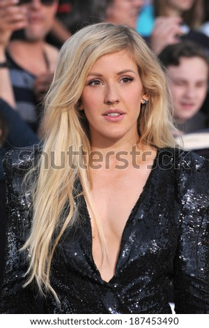"LOS ANGELES, CA - MARCH 18, 2014: Ellie Goulding at the Los Angeles premiere of ""Divergent"" at the Regency Bruin Theatre, Westwood."