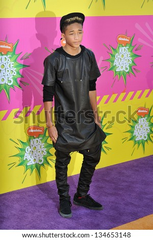 LOS ANGELES, CA - MARCH 23, 2013: Jaden Smith, son of Will Smith & Jada Pinkett Smith, at Nickelodeon's 26th Annual Kids' Choice Awards at the Galen Centre, Los Angeles. - stock photo