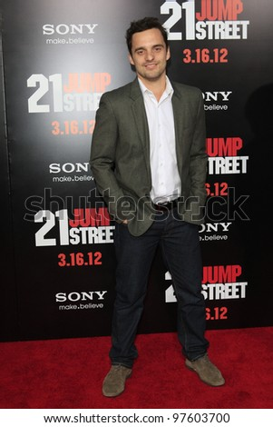 LOS ANGELES, CA - MARCH 13: Jake Johnson at the premiere of Columbia Pictures '21 Jump Street' held at Grauman's Chinese Theater on March 13, 2012 in Los Angeles, California