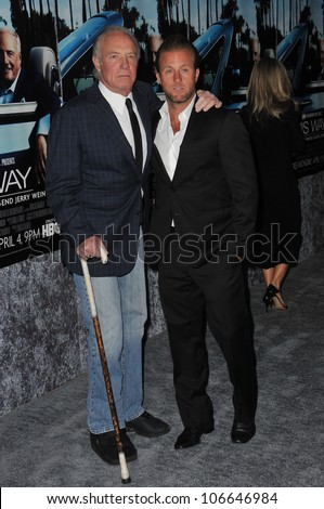 "LOS ANGELES, CA - MARCH 22, 2011: James Caan & soon Scott Caan at the premiere of ""His Way"", about  Jerry Weintraub at Paramount Studios, Hollywood. March 22, 2011  Los Angeles, CA"